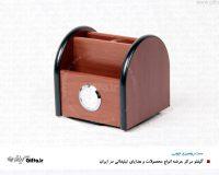 ست رومیزی چوبی ساعت دار چرخشی جای خودکار ساعت دار2-968