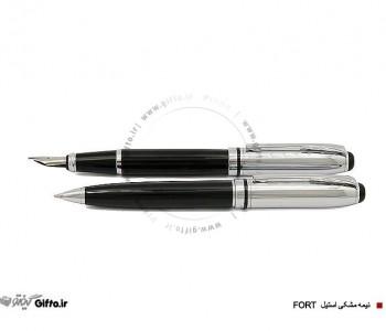قلم fort نیمه مشکی استیل یوروپن
