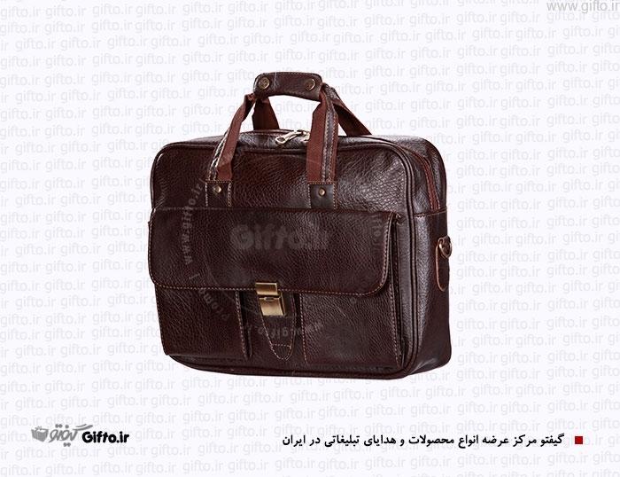 کیف چرمی تک قفله دو دسته کیف مهندسی و چرم مصنوعی کیف سمیناری چرمی هدایای تبلیغاتی
