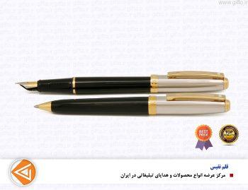 قلم prelude نیمه کروم براق مشکی گیره زرد
